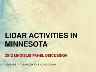 2012 MNGISLIS PANEL DISCUSSION