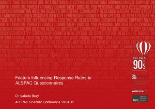 Factors Influencing Response Rates to ALSPAC Questionnaires Dr Isabelle Bray