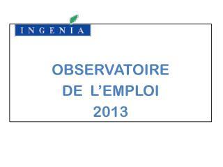 OBSERVATOIRE  DE  L'EMPLOI 2013