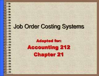 Job Order Costing Systems