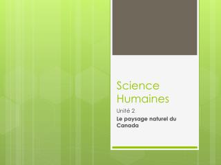 Science  Humaines