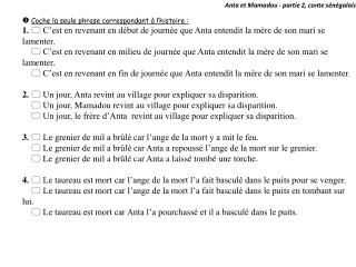 Anta et Mamadou - partie 2, conte  sénégalais u Coche la seule phrase correspondant à l'histoire :