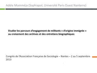 Adèle Momméja ( Sophiapol , Université Paris Ouest Nanterre)