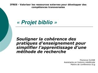 « Projet biblio »