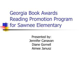 Georgia Book Awards Reading Promotion Program for Sawnee Elementary
