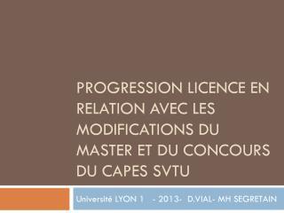 Progression licence en relation avec les modifications du master et du concours du CAPES SVTU