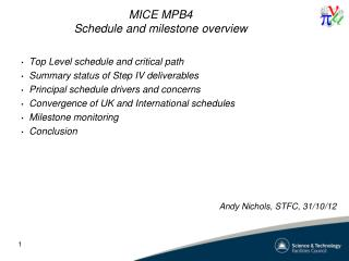 MICE MPB4 Schedule and milestone overview