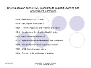 Briefing session on the NMC Standards to Support Learning and Assessment in Practice