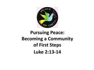 Pursuing Peace:  Becoming a Community  of First Steps