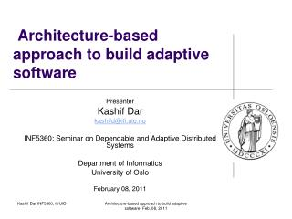 Architecture-based approach  to  build  adaptive software
