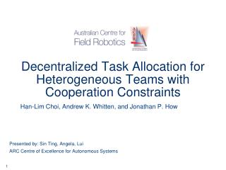 Decentralized Task Allocation for Heterogeneous Teams with Cooperation Constraints