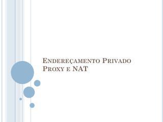 Endereçamento  Privado Proxy e NAT