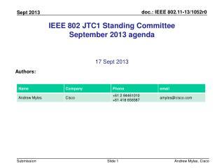 IEEE 802 JTC1 Standing Committee September 2013 agenda