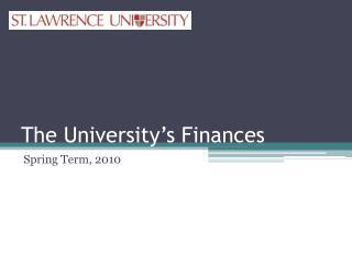 The University's Finances