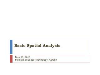 Basic Spatial Analysis