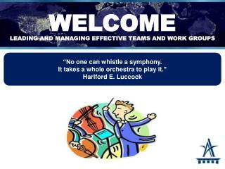 WELCOME Leading and managing effective teams and work groups