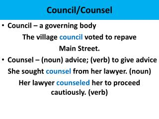 Council/Counsel