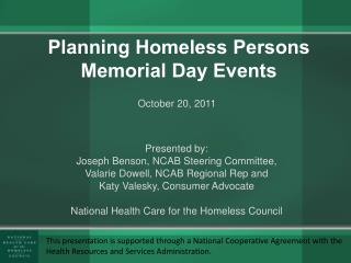 Planning Homeless Persons Memorial Day Events