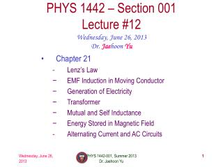 PHYS  1442  � Section  001 Lecture  #12