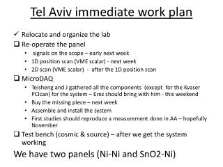 Tel Aviv immediate work plan