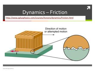 Dynamics � Friction