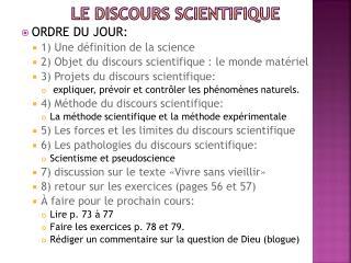 LE DISCOURS SCIENTIFIQUE