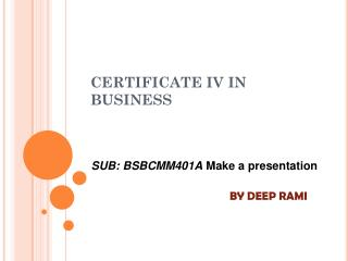 CERTIFICATE IV IN BUSINESS