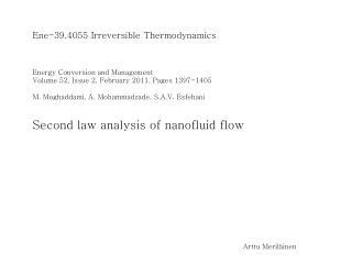 Ene-39.4055  Irreversible Thermodynamics