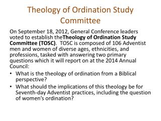 Theology of Ordination Study Committee