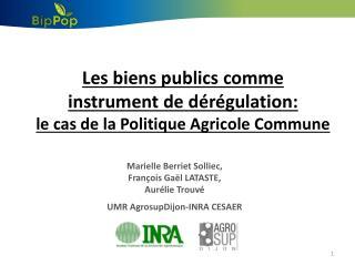 Les biens publics comme  instrument de dérégulation:  le cas de la Politique Agricole Commune