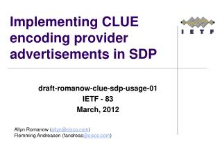 Implementing CLUE encoding provider advertisements in SDP