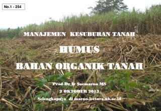 MANAJEMEN  KESUBURAN TANAH HUMUS BAHAN ORGANIK TANAH Prod Dr  Ir Soemarno  MS 2 OKTOBER 2013