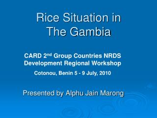 Rice Situation in  The Gambia