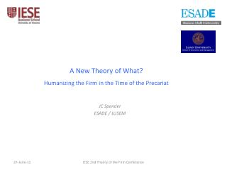 A New Theory of What? Humanizing the Firm in the Time of the Precariat
