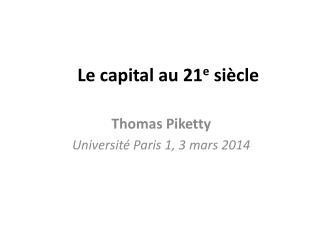 Le capital au 21 e  siècle
