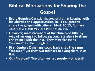 Biblical Motivations for Sharing the Gospel