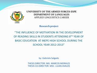 UNIVERSITY OF THE ARMED FORCES-ESPE  DEPARTMENT OF LANGUAGES  APPLIED LINGUISTICS CAREER