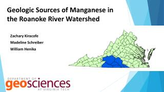 Geologic Sources of Manganese in the Roanoke River Watershed
