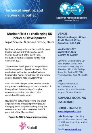 Mariner  Field : a challenging UK heavy oil  development