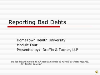 Reporting Bad Debts