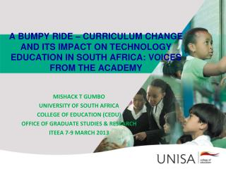 MISHACK T GUMBO UNIVERSITY OF SOUTH AFRICA   COLLEGE OF EDUCATION (CEDU)