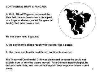 CONTINENTAL DRIFT & PANGAEA