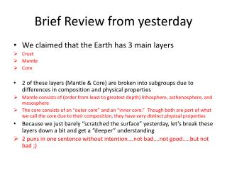 Brief Review from yesterday
