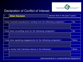 Declaration of Conflict of Interest