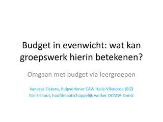 Budget in evenwicht: wat kan groepswerk  hierin betekenen?