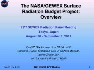 The NASA/GEWEX Surface Radiation Budget Project: Overview