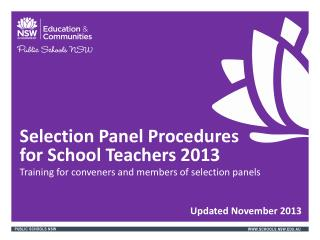 Selection Panel Procedures  for  School Teachers  2013