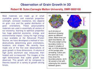 Observation of Grain Growth in 3D Robert M. Suter,Carnegie Mellon University, DMR 0805100