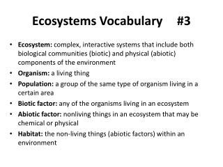 Ecosystems Vocabulary		#3
