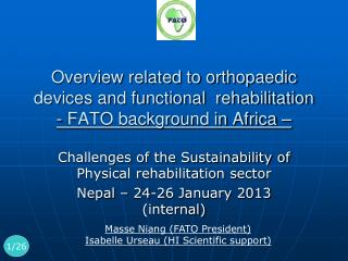 Challenges of the Sustainability of Physical rehabilitation sector